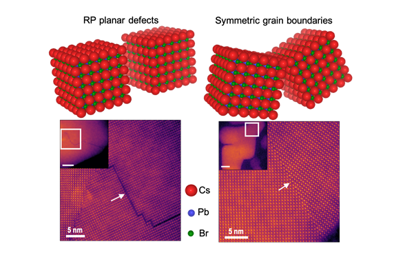 Using atomic-resolution electron microscopy, Arashdeep Singh Thind, a graduate student in Rohan Mishra's lab, studied grain boundaries in crystals (see arrows).