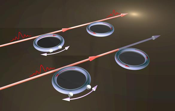 """Electromagnetically induced transparency (EIT) is """"tuned"""" by two particles on the optical resonator. (Image: Yang Lab)"""